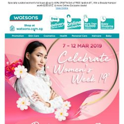 [Watsons] SITEWIDE $38 OFF  Happy Women's Day!