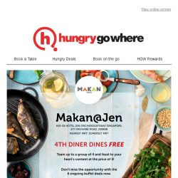 [HungryGoWhere] To the 4th Diner, it's FOC! Feast on various types of buffet at Makan@Jen