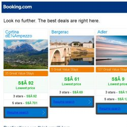 [Booking.com] Cortina d'Ampezzo, Bergerac, or Adler? Get great deals, wherever you want to go