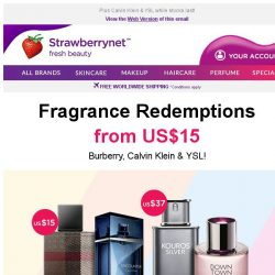 [StrawberryNet] Burberry Perfume for US$15?! More Great Redemptions at Checkout