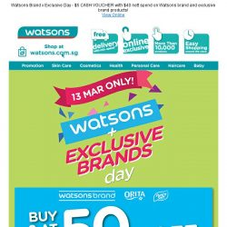 [Watsons] 1 Day only!  2nd Buy @ 50% Off!