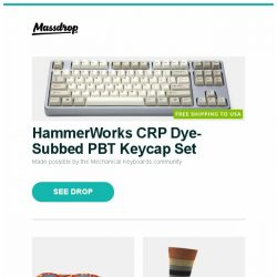 [Massdrop] HammerWorks CRP Dye-Subbed PBT Keycap Set, Persol PO0714 Folding Sunglasses, Darn Tough Striped Lifestyle Socks (2-Pack) and more...