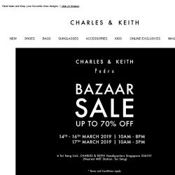 [Charles & Keith] Up To 70% OFF: Bazaar Sale 2019