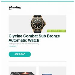 [Massdrop] Glycine Combat Sub Bronze Automatic Watch, Arozzi Arena Leggero Star Trek Edition Gaming Desk, Propel Star Wars Quadcopters and more...