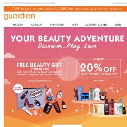 [Guardian] 💋 Spend and receive a FREE Beauty Gift worth $80!