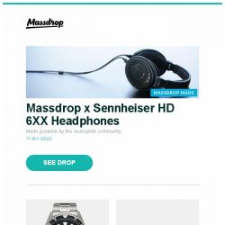 [Massdrop] Massdrop x Sennheiser HD 6XX Headphones, Orient Ray II Automatic Watch, Azio Retro Classic Mechanical Keyboard and more...