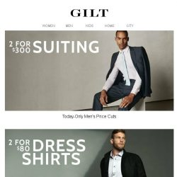 [Gilt] 2 for $300 Suiting + 2 for $80 Dress Shirts: This one's for you, gents.