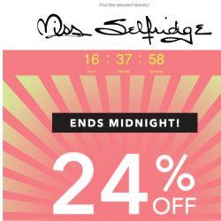 [Miss Selfridge] 24% off for 24 hrs only
