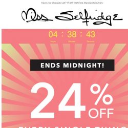 [Miss Selfridge] 24% off everything ENDS MIDNIGHT 🚨