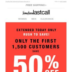 [Last Call] Extended today only: save 50% off entire purchase
