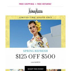 [Neiman Marcus] Hours left! $125 off $500