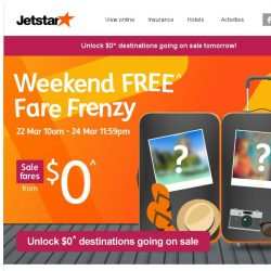 [Jetstar] 8 destinations at $0^ starting soon! Unlock them and set your alarm.