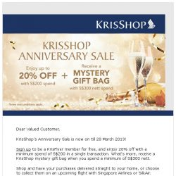 [Singapore Airlines] Enjoy 20% off with KrisShop's Anniversary Sale