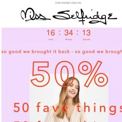 [Miss Selfridge] ALL NEW 50% off 50 fave things!