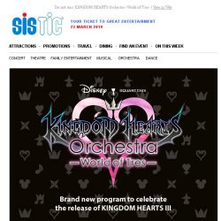 [SISTIC] Do not miss KINGDOM HEARTS Orchestra -World of Tres-