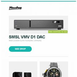 [Massdrop] SMSL VMV D1 DAC, PSB Alpha PS1 Speakers, Graham Chronofighter Trigger Automatic Watch and more...