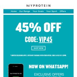 [MyProtein] ⚡ VIP Sale Ends Today ⚡