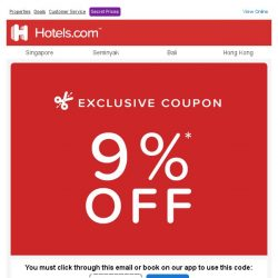 [Hotels.com]  Last chance to get an EXTRA 9% off