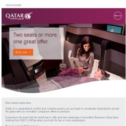 [Qatar] Business Class fares for two starting from SGD 3,249pp*. Enjoy seamless luxury with our great companion offer.