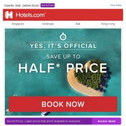 [Hotels.com] ► Our treat for YOU! We're giving you up to (50)% OFF your next stay