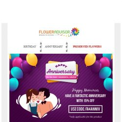 [Floweradvisor] Flower Always Romantics! Celebrate Anniversary With 15% Off