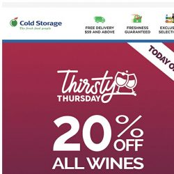 [Cold Storage] (Today only) Enjoy 20% off all wines. 