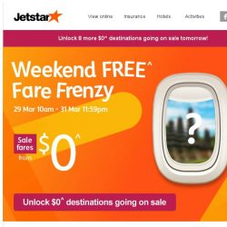[Jetstar] 🔑 Unlock your $0^ fares to 8 other destinations this week!