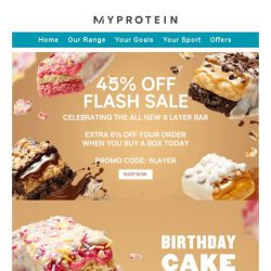 [MyProtein] Sale ends soon! 45% off + extra savings today.