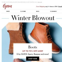 [6pm] Up to 75% off: Winter Boots & Coats Blowout!