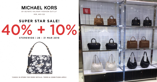 a1b1674cfcd0 28 - 31 Mar 2019 Michael Kors  Super Star Sale with 40% + 10% OFF Storewide  at IMM!