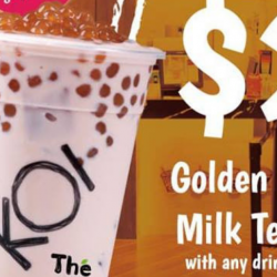 KOI: Get a Golden Bubble Milk Tea for only $2 with Any Drink Purchase at Plaza Singapura!