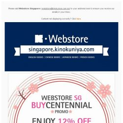 [Books Kinokuniya]  Enjoy 12% OFF WEBSTOREWIDE from today until 7th April 2019, exclusively on Kinokuniya Webstore Singapore.  Shop NOW!