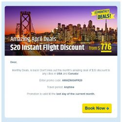 [cheaptickets.sg]  Amazing April $20 off flights to USA & Canada! Limited time only.