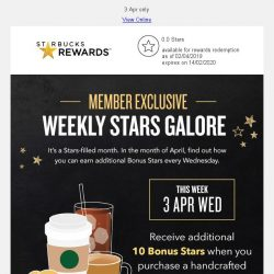 [Starbucks] Find out how you can enjoy additional 10 Bonus Stars ⭐