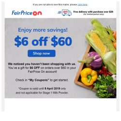 [Fairprice] $6 OFF your groceries! 😍