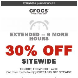 [Crocs Singapore] 【ONE MORE NIGHT】 EXTENDED -- Extra 30% OFF Flash Sale!