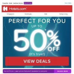 [Hotels.com] ⚡ Right on time! We're treating you: up to ½ price discount with our Lightning Deals