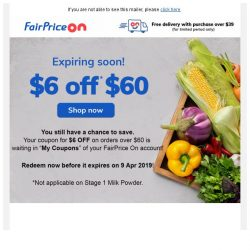 [Fairprice] Reminder: Redeem your $6 OFF!