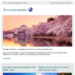 "[Cathay Pacific Airways] Enjoy ""Explore the New"" special offers with Mastercard®"