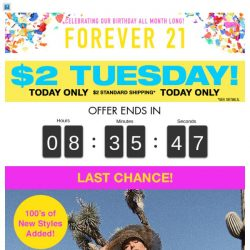 [FOREVER 21] Surprise! It's $2 Tuesday!