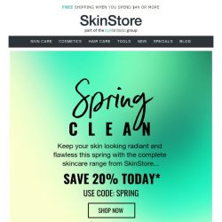 [SkinStore] Spring Clean with 20% Off