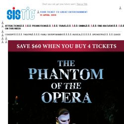 [SISTIC] The Phantom of the Opera – Grab your friends and save $60 (min. 4 tickets)