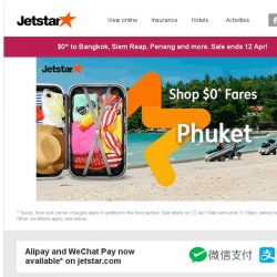 [Jetstar] You've been missing out on $0^ flights! $0^ to Bangkok, Phuket and more, book now.
