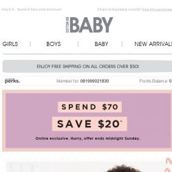 [Cotton On] Spend $70 + save $20 on Baby's First Easter 🐰