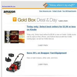 [Amazon] Today only: Select best sellers for $3.99 or...