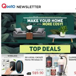 [Qoo10] Make Your Home Cosy! Up to 70% Off on Home Improvements and Furniture From 18-24 April