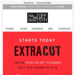 [Saks OFF 5th] Up to 85% off clearance? Let's celebrate...