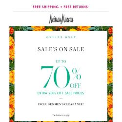 [Neiman Marcus] Last chance! 70% off in sale or $25-$600 gift card