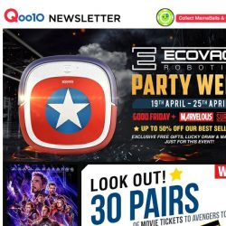 [Qoo10] 30 Pairs Of FREE Avengers Movie Tickets Waiting For You! [ONLY NOW] BIGGEST Official ECOVACS Event Ever!! It's Your Time Now.