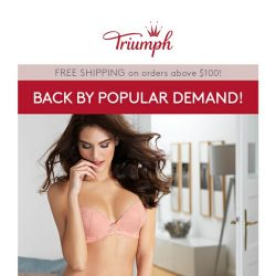 [Triumph] 2 Bras for $69.90 Bras Back By Popular Demand!